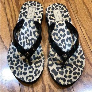 NWOT Kate Spade leopard print flip flops